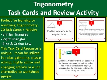 Solving Trigonometry Problems - Task Cards and UNIQUE Activity {Common Core}