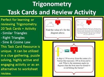 Solving Trigonometry Problems - Task Cards and UNIQUE Acti