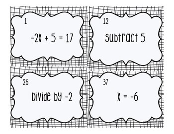 Solving Two-Step Equation Cards FREEBIE