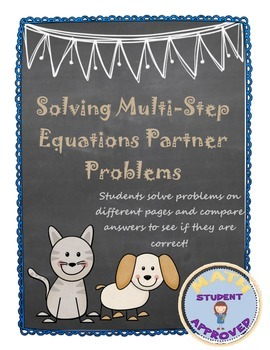 Solving Two Step Equation Engaging Partner Activity