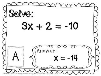 Solving Two Step Equation Scavenger Hunt