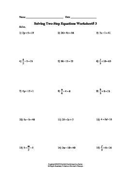 Solving Two-Step Equation Worksheet #3