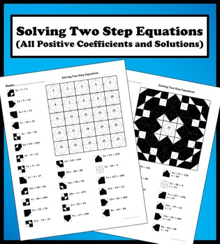 Solving Two Step  Equations (All positive coefficient/solutions) Color Worksheet