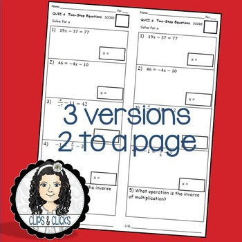 Solving Two-Step Equations Assessment Quiz