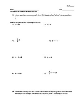 Solving Two-Step Equations - Assignment
