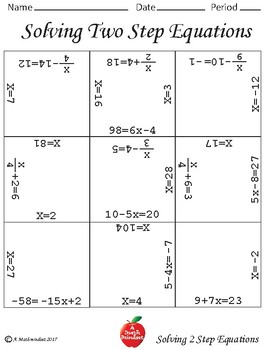 Solving Two Step Equations Block Puzzles