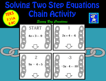 Solving Two Step Equations Chain Activity