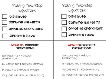 Solving Two Step Equations Checklist