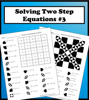 Solving Two Step Equations Color Worksheet Practice 3