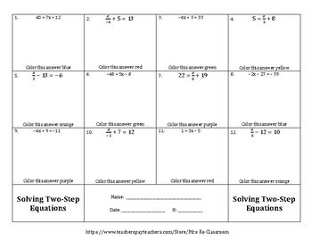 Solving Two Step Equations Color by Numbers