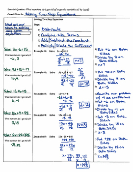 Solving Two-Step Equations - Cornell Notes (7.EE.4; Math Practices 1,2,3,4)