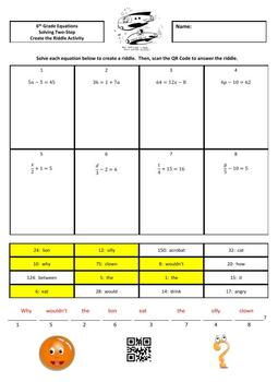 Solving Two-Step Equations Create the Riddle Activity