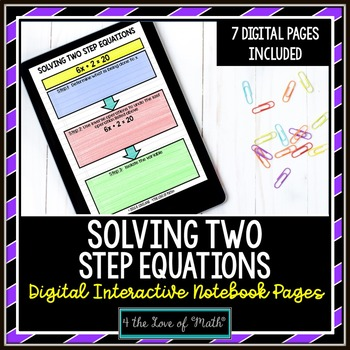 Solving Two Step Equations Digital Interactive Notebook Pages