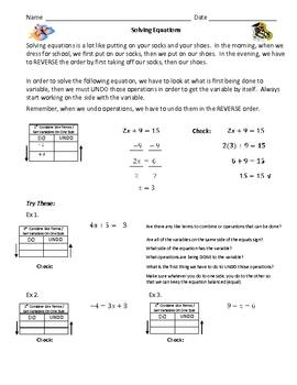 """Solving Two Step Equations - """"Do/Undo"""""""