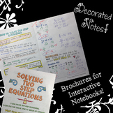 Solving Two Step Equations - Decorated Notes Brochure for Interactive Notebooks