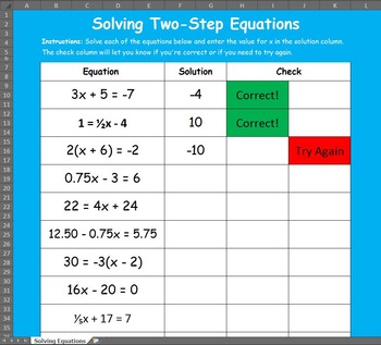 Solving Two Step Equations Excel Activity