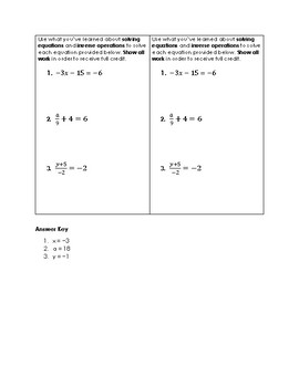 Solving Two-Step Equations Exit Ticket