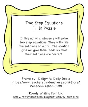 Solving Two Step Equations Fill In Activity