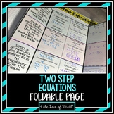 Solving Two Step Equations: Foldable Page