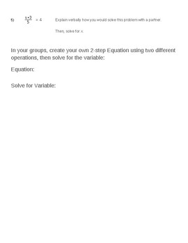 Solving Two Step Equations Guided Notes and Practice 7.EE