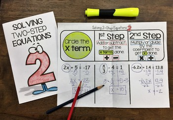 Solving Two-Step Equations Interactive Notebook Foldable