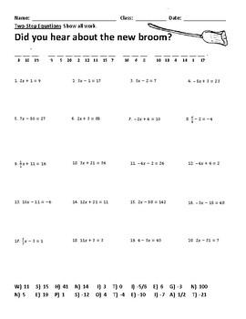Solving Two Step Equations Joke Worksheet 2
