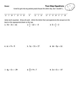 Solving Two-Step Equations Joke Worksheet 3