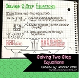 Solving Two Step Equations Lesson for Interactive Notebooks