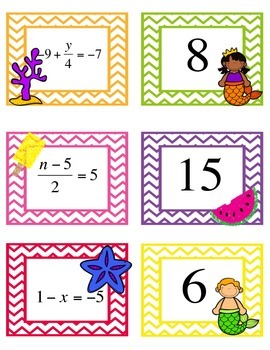 Solving Two-Step Equations Matching/Memory Game - Summer Themed