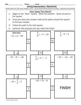 Solving Two-Step Equations Maze + Bonus Mini Maze