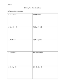 Two Step Equations No Negatives Worksheets & Teaching ...