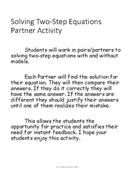 Solving Two Step Equations Partner Activity