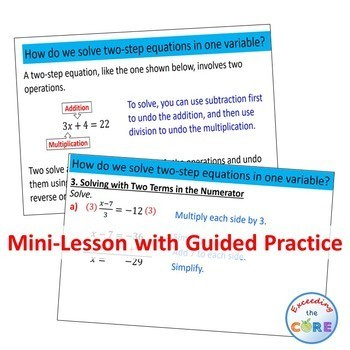 SOLVING TWO-STEP EQUATIONS PowerPoint Mini-Lesson & Guided Practice