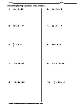 Solving Two-Step Equations Practice Worksheet