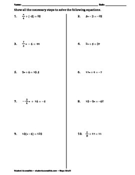 Solving Two-Step Equations Practice Worksheet II