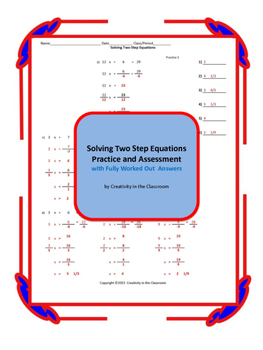 Solving Two Step Equations Practice and Assessment