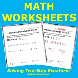 Solving Two-Step Equations Riddle Worksheet