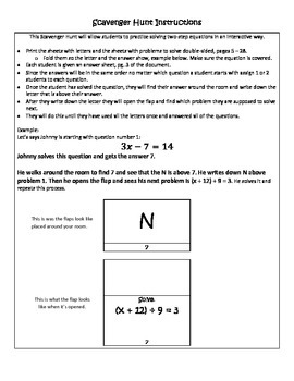 Solving Two-Step Equations Scavenger Hunt