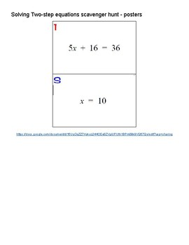 Solving Two-Step Equations Scavenger Hunt - posters