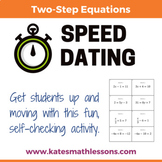 Solving Two-Step Equations Speed Dating Activity