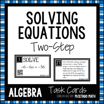 Solving Two-Step Equations Task Cards with QR codes