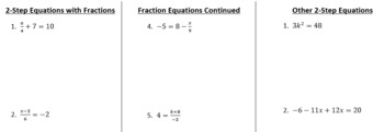 Solving Two-Step Equations Tri-fold Note page