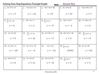 Solving Two Step Equations Triangle Puzzle By Amy Harrison Tpt Inequality Puzzle Worksheet Solving Two Step Equations Triangle Puzzle