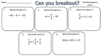 Solving Two-Step Equations – Two Breakout Activities!