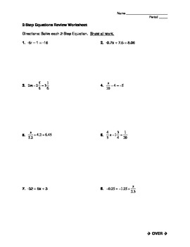 Solving Two-Step Equations Worksheet by Mrs J's Math Corner | TpT