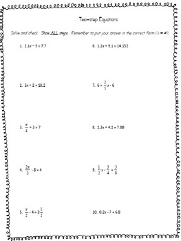 Solving Two-Step Equations Worksheet