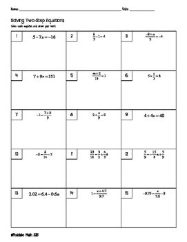 Solving Two Step Equations Worksheet by Pecktabo Math   TpT