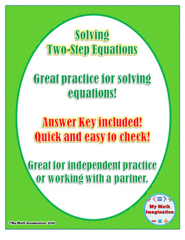 Solving Two-Step Equations Worksheet  - Match problem with answer