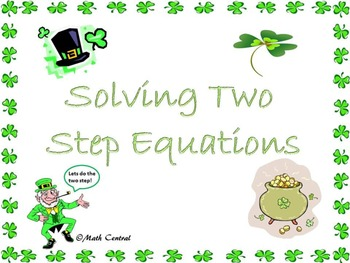 Solving Two-Step Equations Worksheets St. Patrick's Day