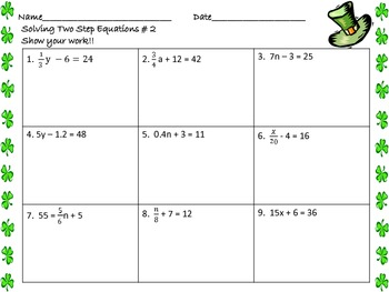 Writing Worksheets For Grade 4 Pdf Solving Twostep Equations Worksheets St Patricks Day By Math  8 Multiplication Table Worksheet Word with Math Worksheet For Preschool Excel Solving Twostep Equations Worksheets St Patricks Day Free Sequence Worksheets Word